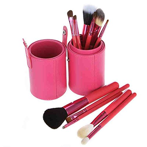 Coupe Cuir Rose Ensemble De 12 Maquillage Pinceaux - Poils De Chèvre/Pony/Synthetics, Virole en Aluminium, Manche En Bois Naturel by DELIAWINTERFEL