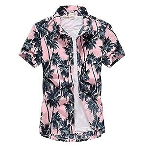アロハシャツ メンズ ビーチシャツ 半袖シャツ 速乾 超軽量 プリントシャツ 夏 イベント 祭り 和柄シャツ ハワイアンシャツ ピンクヤシの木 M_実際サイズMに相当