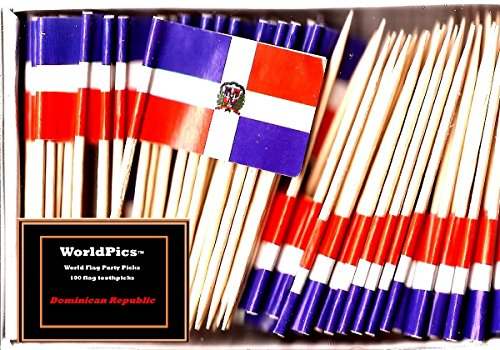 One Box of 100 Country Toothpick Flags, 100 Small Mini International Flag Cupcake Toothpicks or Cocktail Picks (Dominican Republic)