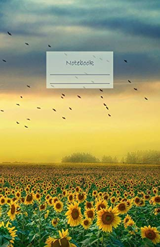Notebook: Dotted grid Journal. Bullet Diary. Ideal for Notes, Memories, Journaling, Creative planning and Calligraphy practice. 120 Pages. Soft matte ... (Sunflowers field yellow blue sky cover).