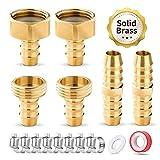 HOMENOTE Hose Connectors,5/8' Solid Brass Garden Hose Repair Kit, 2 Female...