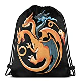 WH-CLA Cinch Bags Game Of Dragon Charizard Sport Durable Party Drawstring Bags Gym Storage Anime Print Favor Bags Wrapping Gift Bag Goodie Bags Cinch Bags Drawstring Backpacks Unique Lig