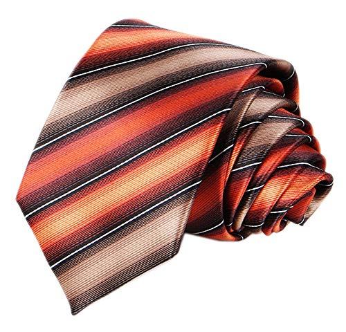 Elfeves Herren-Krawatte, modern, gestreift, gemustert, Seide, Hochzeit, Party, Bankett, Krawatte -  Orange -  Einheitsgröße