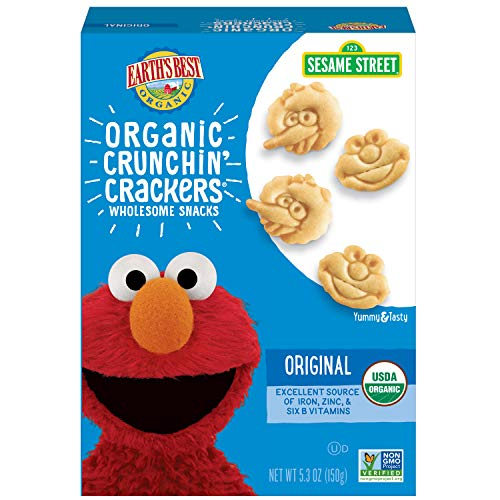 Earth's Best Organic Sesame Street Toddler Crunchin' Crackers, Original, 5.3 oz. Box