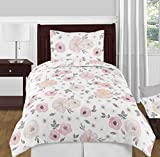 Sweet Jojo Designs Blush Pink, Grey and White Shabby Chic Watercolor Floral Girl Twin Kid Childrens Bedding Comforter Set 4 Pieces - Rose Flower