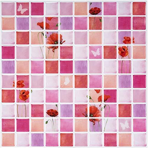 6 Piezas Ecoart Decorativos Adhesivos Para Azulejos Pegatina de Pared, Azulejos de Gel, Diseño de Mosaico de Flor, Efecto 3d, Cenefa Autoadhesivo, Para Baño y Cocina