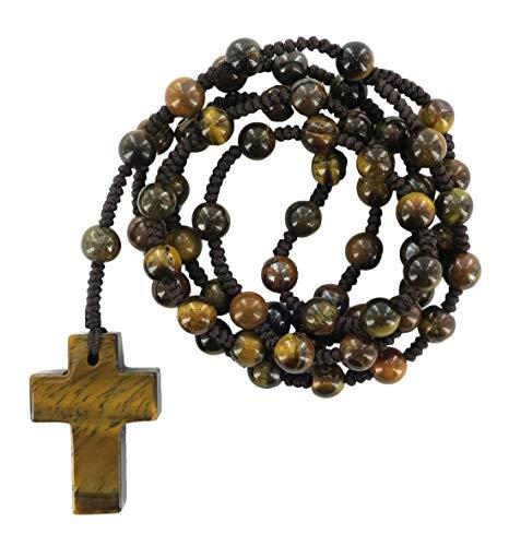 Rosario Occhio di Tigre con grani tondi e Croce in Pietra mm 6 Legatura in Seta
