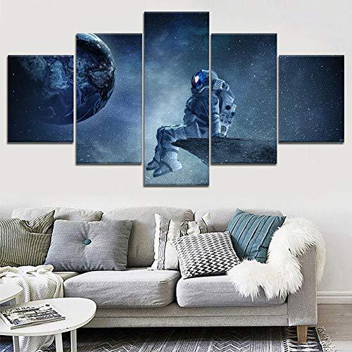 Leinwand Gedruckt Wandkunst 5 Stücke Astronaut Raum Landschaft Poster Malerei Moderne Wohnkultur Modulare Bilderrahmen Wohnzimmer