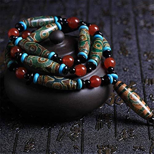 WANNA.ME Pulsera de Estilo Budista Tibetano Collar Muñeca Cuello Mala Anillo Cadena de Mano - Ágata Verde Hogar Coche Oficina Bolso Decoración Meditación Oración Cuentas