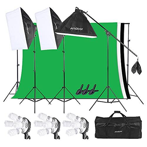 Softbox Kit Fotografica per Studio, Andoer Illuminazione Fotografia Set Flash, 3 Set Softbox Luce Luminoso Dimmerbile 12 Lampadine + Treppiedi + 3 Pezzi Sfondo + Supporti + Riflettore + Borsa Nylon