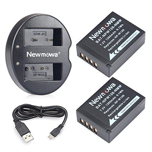 Newmowa NP-W126 2 Batteria e Doppio Caricatore USB per Fujifilm NP-W126 NP-W126S e Fuji FinePix HS30EXR HS35EXR HS50EXR X100F X-E1 X-E2 X-E2S X-E3 X-H1 X-Pro1 X-Pro2 X-T1 X-T2 X-T3 X-T10 X-T20 X-T100