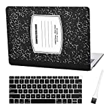 MacBook air 13 Inch Case A1932 Plastic Laptop Hard Shell Cover Sleeve Matte Rubberized (2020 2019 2018 Release, Touch ID) with Silicon Keyboard Cover and Dust Brush(Notebook Pattern-Black)