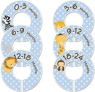 C86 Safari Animals Baby Closet Size Dividers Boy Set of 6 (Blue, 1.25