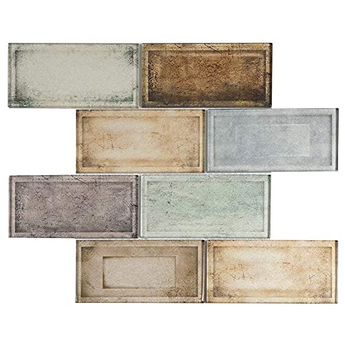 Adedeo Glass Subway Tile Industrial Age Colorful 12 x 12 Inch for Kitchen Backsplash Bathroom Wall (5-Pack, 5 sq.ft.)