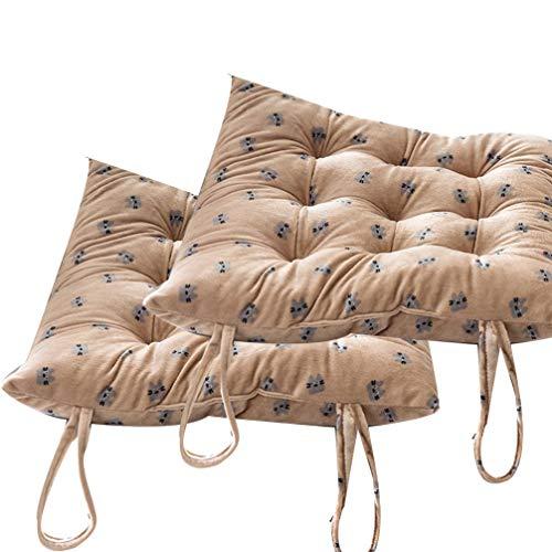 BoruisX - Juego de 2 cojines de tatami para silla de oficina, interior y exterior, antideslizante, con lazos para el invierno, marrón, 35 x 35 cm