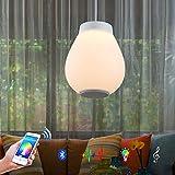 Horevo Lamparas Colgante de Techo LED, 30W Acrílico Lampara Techo Altavoz Bluetooth, Control Remoto+APP, Cambio de Color Lamparas de Techo para Isla de Cocina Regulable110cm