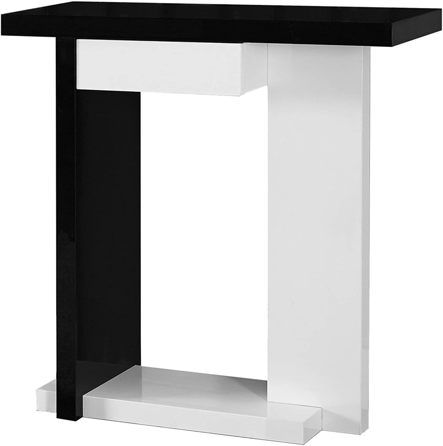 Monarch Specialties Accent Table - 32  L Glossy White Black Hall Console, 32-Inch