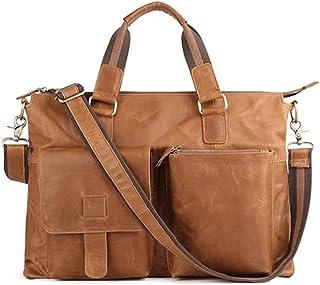 Fyuanmeiishoutb briefcase, Men's Briefcase Leather Office 17-inch Laptop Shoulder Bag Men's Handbag Men's Handbag (Color :...
