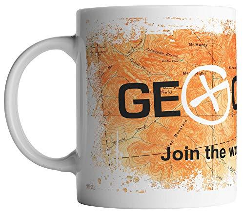 vanVerden Tasse - Join the world's largest treasure hunt - Geocaching Topografische Karte Geocacher - beidseitig Bedruckt - Kaffeetassen, Tassenfarbe:Orange