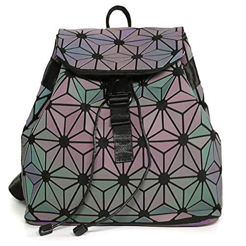 MARBER Frauen Rucksack Luminous Geometric Nightglowing Mode Bunte Rhombische Daypack Rucksack Taschen für Frauen Mädchen Campus Outdoor Reise