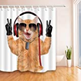 daimin Cat Listening To Music Tela Cortina de baño Set de baño 180x200cm con Gancho