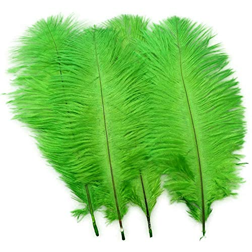 Sowder 20pcs Natural 10-12inch(25-30cm) Ostrich Feathers Plume Wedding Centerpieces Home Decoration(lime green)