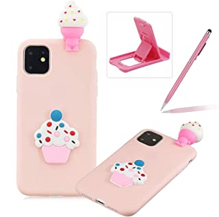 TPU Case for iPhone 11,Soft Rubber Cover for iPhone 11,Herzzer Ultra Slim 3D Funny Ice Cream Series Design Scratch Resistant Shock Absorbing Flexible Silicone Back Case
