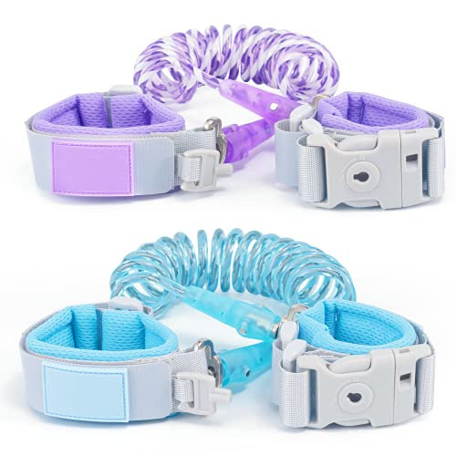 LilKisThk Child Leash, Toddler Harness with Leashes 2Pcs, Kids Safety Leash with Key Lock, Anti Lost Wrist Link for Toddlers (Blue+Purple)