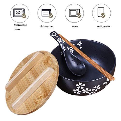WYL Japaner Salatschüssel aus Keramik, Suppenschüssel mit Deckel, Handgezeichnete große runde Schüssel, spülmaschinengeeignet, Senden Sie Essstäbchen und Löffel