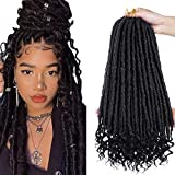 7 Pack Faux Locs Crochet Tressage Extensions de Cheveux Synthétique Naturel Doux Dread Locs avec Extrémités Bouclées Tressage Extension de Cheveux pour Femmes Filles (1B#, 20 pouces)