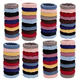 80 Pieces Ponytail holders,Elastic thick hair ties,Elastic Seamless Cotton Hair Bands, Simply Hair Ties Ponytail for Thick Heavy and Curly Hair,Light weight Highly Elastic. (10 Colors)
