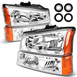2003-2006 Silverado Headlight Assembly by POLLY WALES - Headlights for 2003 2004 2005 2006 Chevy Silverado 1500/2500/3500 Headlamp Replacement Left and Right - Chrome Housing