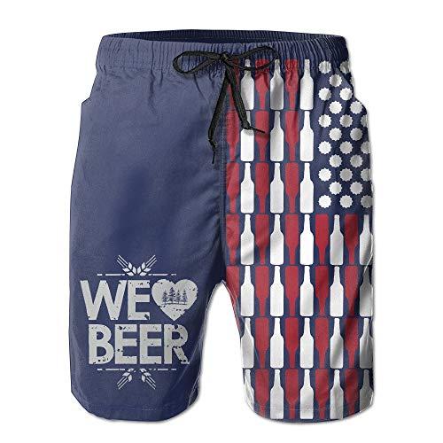 Cute Bi Birra USA Flag Cargo Estivo Uomo Nuoto Surf Beach Trunks Pantaloncini da Surf Estivi Ad Asciugatura Rapida con Tasche XL
