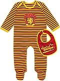 HARRY POTTER - Pijama Entera con Babero para Niños Bebés - Gryffindor - 0-3...