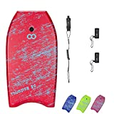 WOOWAVE Bodyboard 33-inch/36-inch/41-inch Super Lightweight Body Board with Coiled Wrist Leash, Swim Fin Tethers, EPS Core and Slick Bottom, Perfect Surfing for Kids Teens and Adults(41 inch, Red)