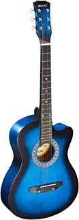 Melodic 38 Inch Wooden Guitar Folk Acoustic Strap Tuner Pick with Carry Bag Guitar Stand Blue