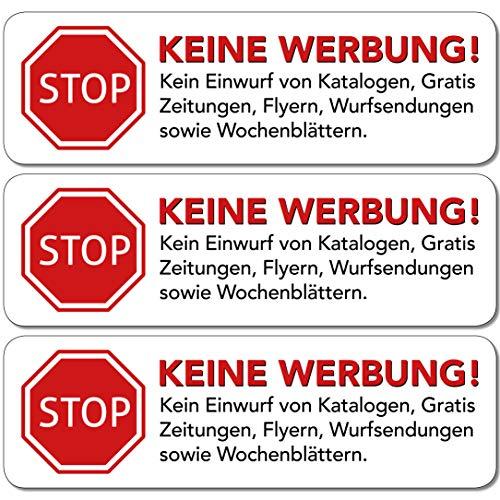 Keine Werbung Aufkleber 10 STK in weiss - Schild – Folie - Sticker (STOP Bitte keine Kostenlose Zeitung, Reklame, Flyer, Handzettel, Wurfsendungen, Werbung einwerfen, etc.) für den Briefkasten