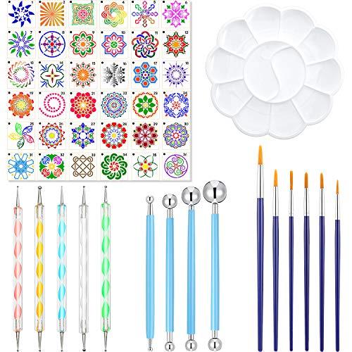 52 Pezzi Stencil di Mandala Strumenti di Punteggiatura Kit di Strumenti di Pittura Mandala Includi Pennelli per Stencil che Punteggiano Pennelli per La Pittura di Rocce, Disegno, Pittura di Arte
