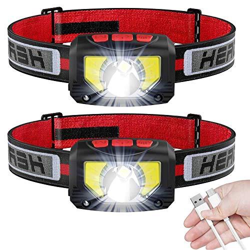 Stirnlampe LED Wiederaufladbar, USB Kopflampe Stirnlampe 1000 Lumens Sehr Hell, 6 Modi, 80g, COB LED Kopflicht IPX5 Wasserdicht, Mini Stirnlampen für Laufen, Joggen, Angeln, Campen, Kinder