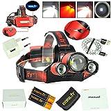 BORUIT B22 XM-L2+2X XPE Red LED Hunting Headlamp Micro USB Headlight Torch...