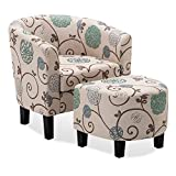BELLEZE Upholstered Modern Barrel Accent Tub Chair With Ottoman Foot Rest Living Room, Beige Floral