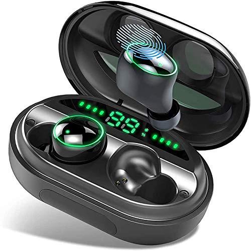 Auricolari Bluetooth 5.0, Donerton IP8 Impermeabile Cuffie Bluetooth con 150 ore di Riproduzione, Hi-Fi Stereo CVC8.0 Cancellazione di Rumore Auricolari Wireless Sportivi, Display LCD e Touch Control