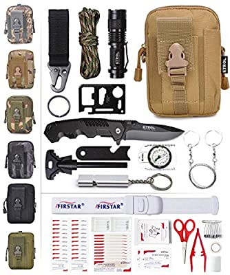 ETROL 22-in-1 Emergency Survival Kit & First Aid Kit, Upgraded Portable Tactical Molle Pouch for Camping, Earthquake, Boat, Hiking, Backpacking - Fire Starter, Tourniquet, Compass, Flashlight and More