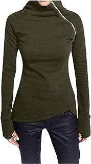 Jerséis Mujer Cuello Alto Color Solido Talla Grande Pullover Mujer Manga Larga con Cremallera Sudadera Suéter Mujer Invier...