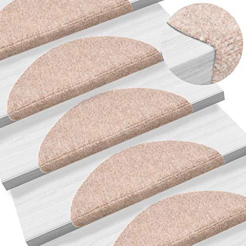 UnfadeMemory 15-TLG Selbstklebende Treppenmatten Nadelvlies Stufenmatten rutschfest Warm Treppen-Teppich Allzweck-Matte für Stufen, Sichere Treppenstufen (Braun, 54x16x4cm)