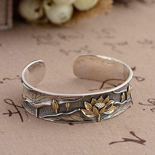YBB-YB LXX-LX S925 Ladies Vintage Silver Bracelet Open Relief 3D Inlaid Copper Lotus Creative Carving Temperament Personality Gift Chinese Classic