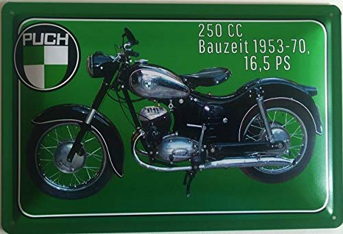 Deko7 Blechschild 30 x 20 cm Puch 250 CC 16,5 PS Baujahr 1953-1970
