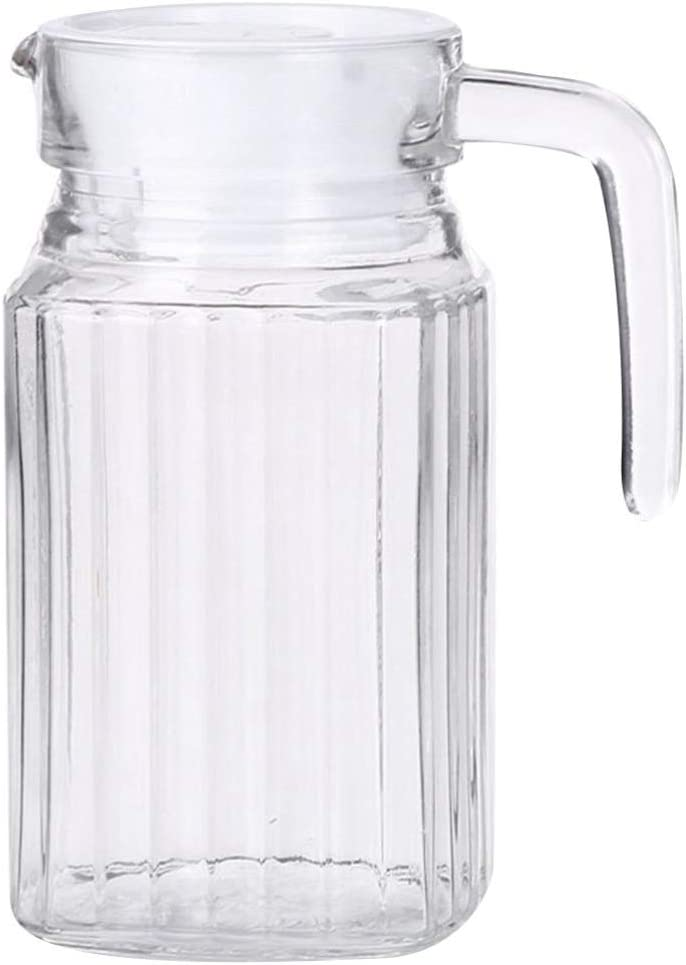 YARNOW Glass Pitcher with Handle and Handmade Bombing new work for Lid Water Jug 70% OFF Outlet