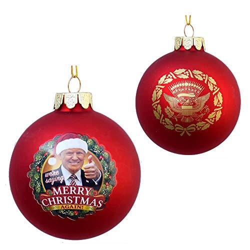 Kurt S. Adler 80MM Trump Merry Christmas Again Glass Ornament, Multi