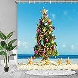 lovedomi Cortina de ducha temática de playa con un árbol de Navidad verde e ilustración de estrellas de mar amarillas con luces de colores, tela de poliéster de secado rápido, 183 x 183 cm, verde